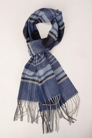 Sciarpa blu-azzurra scozzese frange Angelico