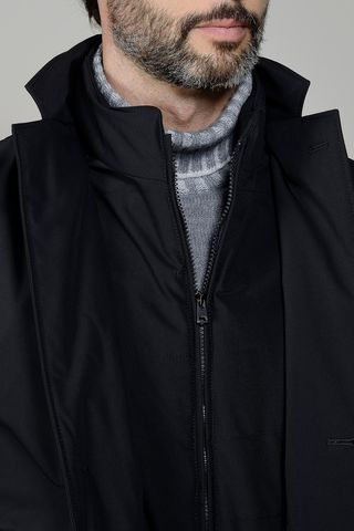 black technical coat with bib Angelico