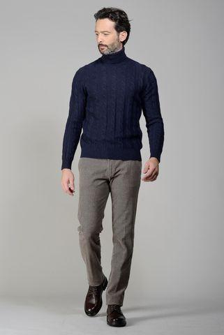 Dolcevita blu trecce lana-cashmere Angelico