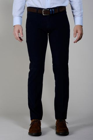 Pantalone velluto blu millerighe slim Angelico