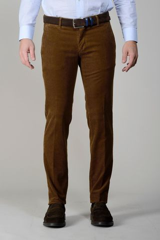 brown corduroy stretch trousers slim Angelico
