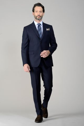 Navy suit flannel 100s Angelico