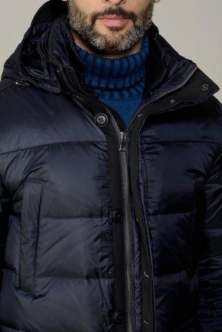 giaccone blu piuma e cappuccio Angelico