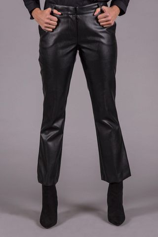 black trumpet trousers faux leather Angelico