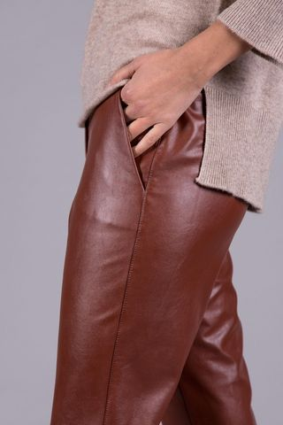 brick trumpet trousers faux leather Angelico