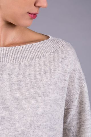 gray cashmere boat sweater Angelico