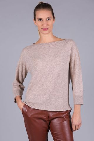 natural cashmere boat sweater Angelico