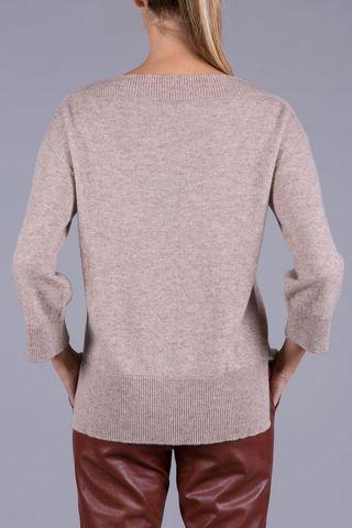 maglia beige  puro cashmere barchetta Angelico