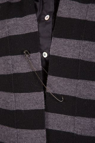 dark-grey striped open cardigan merino Angelico