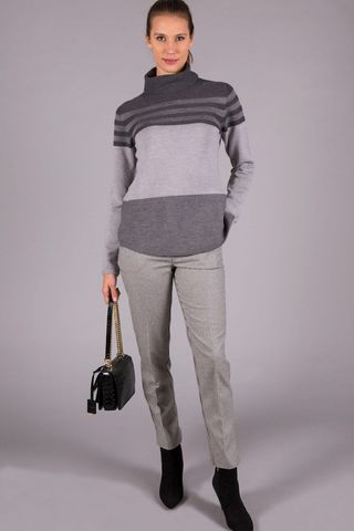grey striped turtleneck merinos Angelico