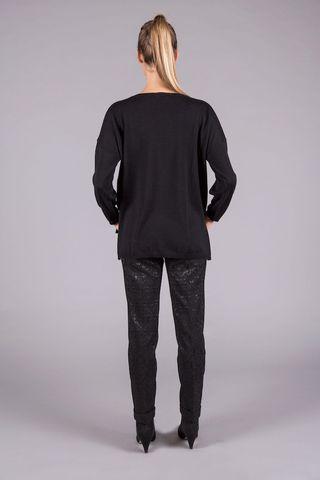 maglia ampia nera merino Angelico
