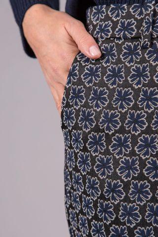 pantalone nero fiori blu risvolto Angelico