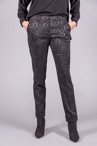 Pantalone nero fantasia damascata lucida Angelico
