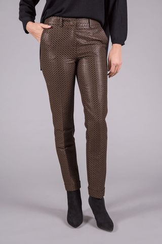 brown-black shiny patterned trousers Angelico
