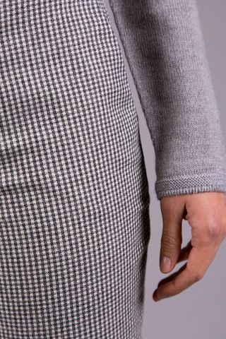 grey-white micro checkered trousers Angelico