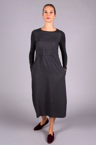 grey long dress elastic in waist Angelico