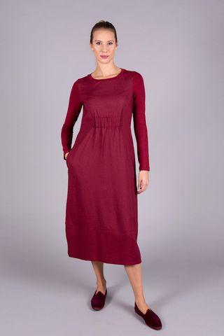 burgundy long dress elastic in waist Angelico