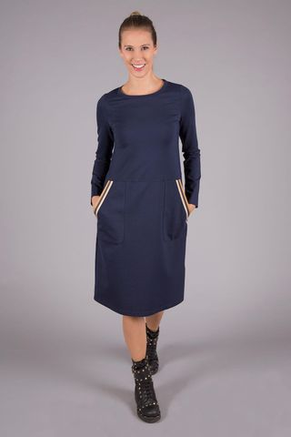 blue flared fleece dress with pockets Angelico