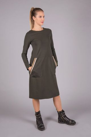 green flared fleece dress with pockets Angelico