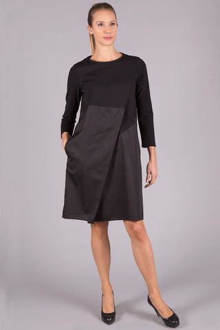 black midi dress with diagonal fold Angelico