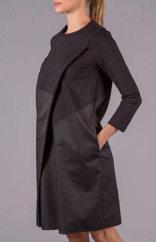 abito nero midi piega diagonale Angelico