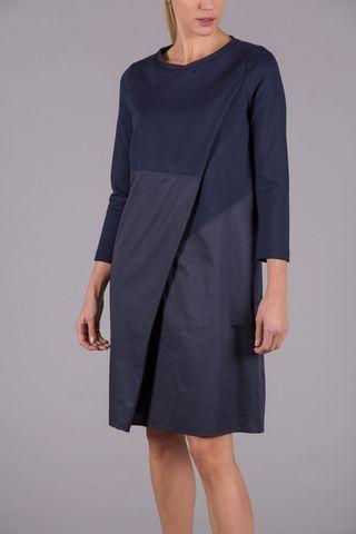 abito blu midi piega diagonale Angelico