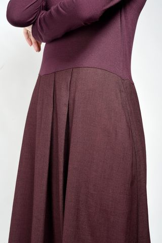plum long pleated dress Angelico