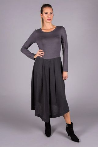 grey long pleated dress Angelico