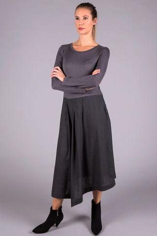 abito grigio lungo pieghe bi-tessuto Angelico