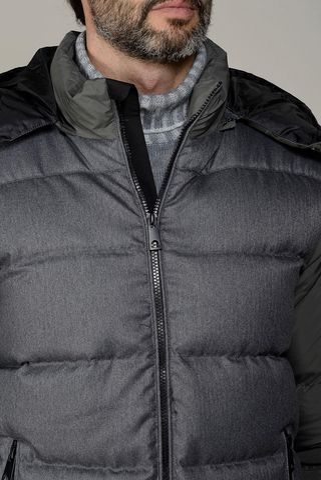 giubbotto grigio piuma cappuccio Angelico