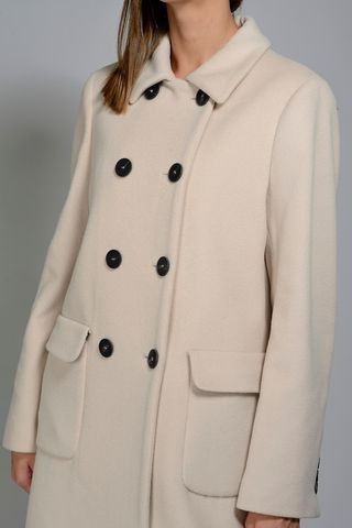 cream double-breasted coat wool-cashmere Angelico