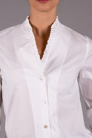 white stretch shirt with rouche Angelico