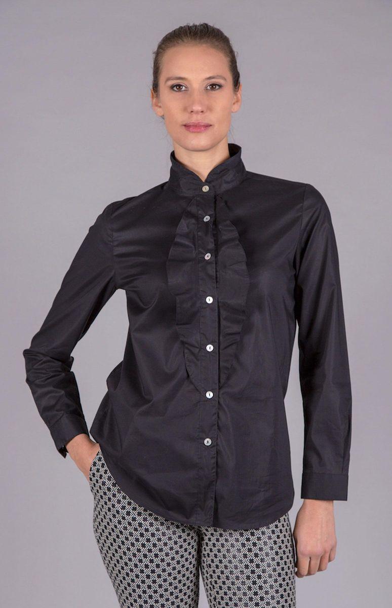 camicia nera coreana e rouche Angelico