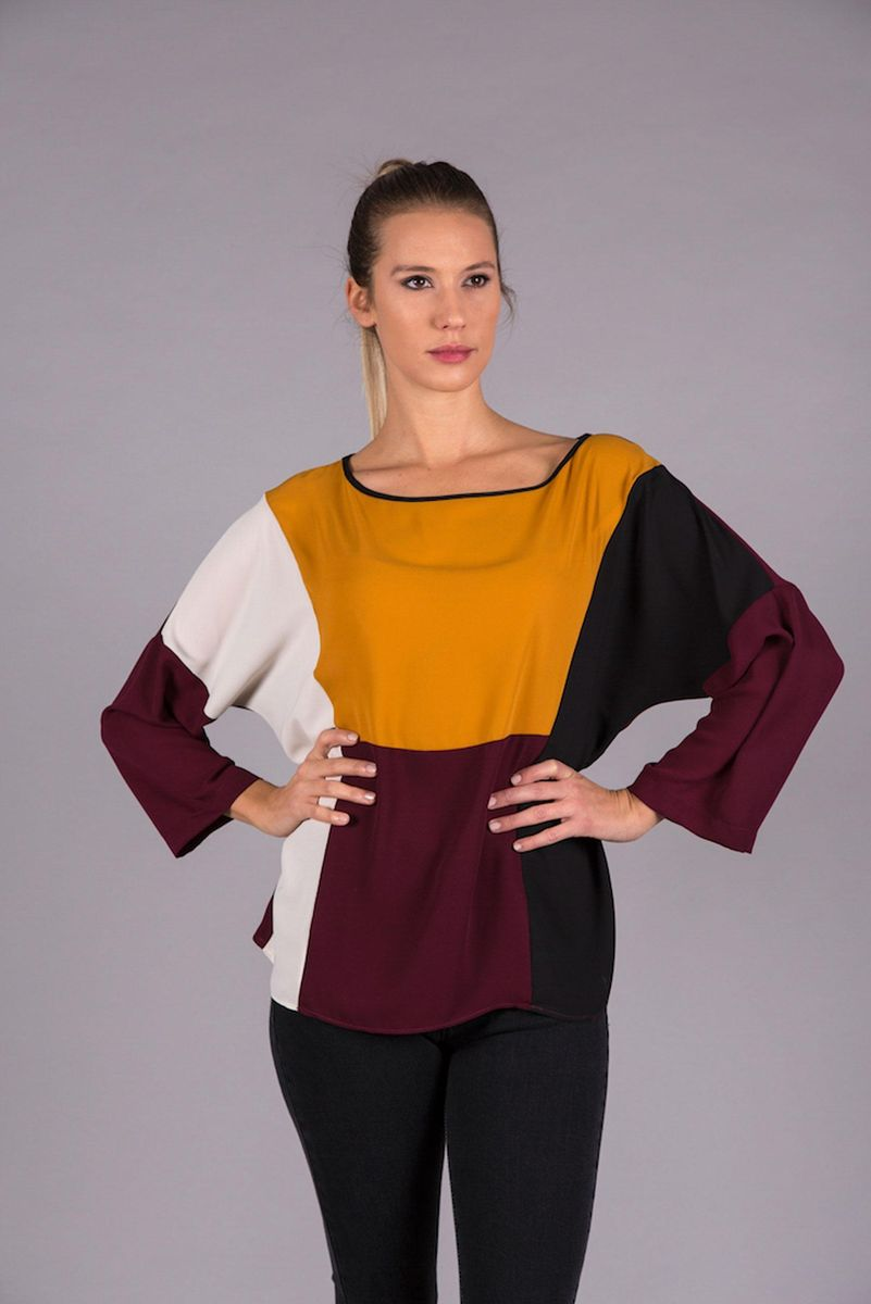bordeaux blouse with ocher inserts Angelico