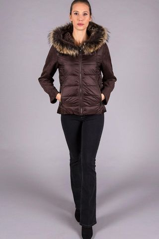 Brown eco down jacket detachable fur Angelico