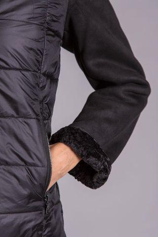 black eco down jacket detachable fur hood Angelico