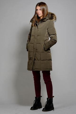 long brown hooded down coat Angelico