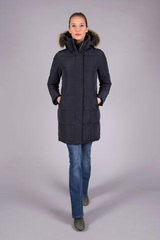 Piumino lungo blu cappuccio pelliccia staccabile Angelico