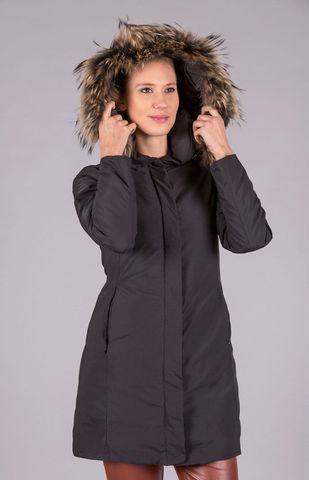 Cappotto nero eco cappuccio pelliccia staccabile Angelico