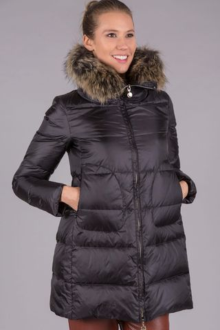 black down coat detachable fur hood Angelico