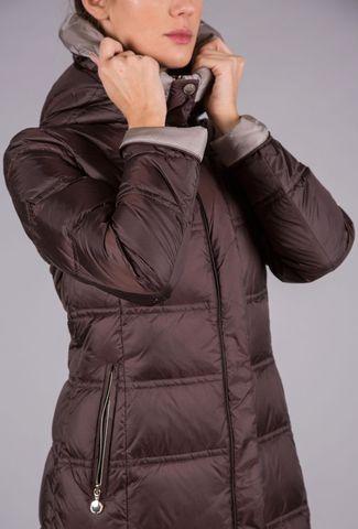 cappotto moro piuma cappuccio bicolore Angelico