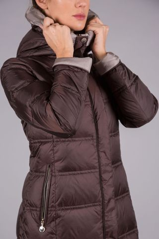 brown-sand down coat with hood Angelico