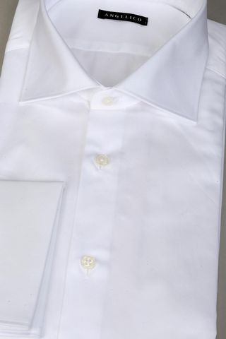 white shirt double cuff twill Angelico