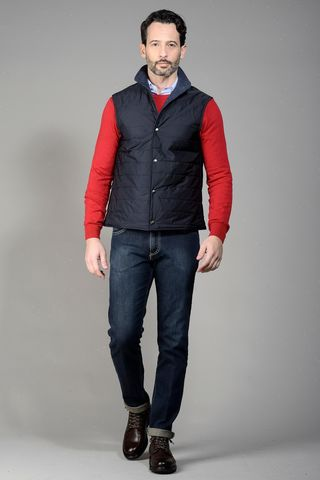 reversible technical blue wool vest Angelico