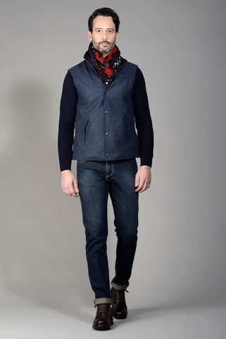 gilet tecnico reversibile blu lana Angelico