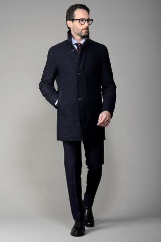 Fancy black-blue coat with bib Angelico