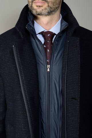 Cappotto nero-blu fantasia con pettorina Angelico