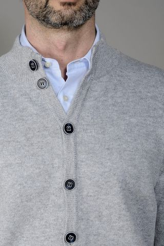 wool-cashmere gray cardigan buttons Angelico