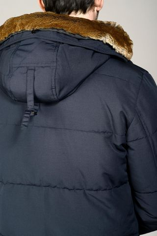 navy hooded heavy jacket with pockets Angelico