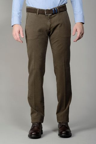 brown trousers dyed cotton diagonally slim Angelico